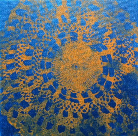 Peacock Doily Study 1, 2011, acrylic on canvas, 6 x 6 inches